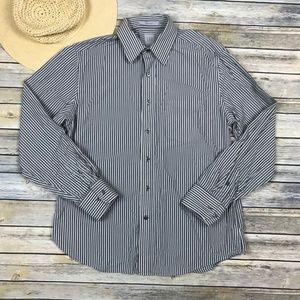 Gap Stripe Button Down Dress Shirt Gray White